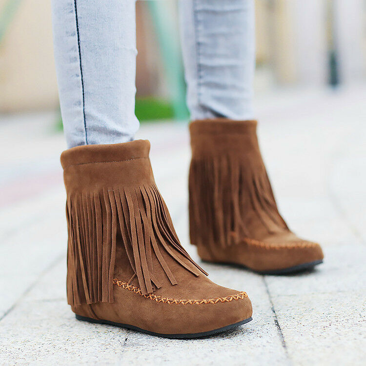 Girls Womens Tassel Ankle Boots Faux Suede Flat Pull on Moccasin shoes Ladies